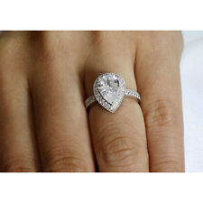 travel fake tester engagement ring 2 carat pear oval cz cubic zirconia 3 prong