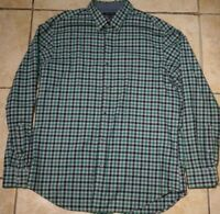 Banana Republic Button Down Plaid Flannel Shirt Long Sleeve Mens Large Green