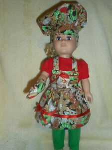 """18"""" doll clothes - Christmas Chef - pants, blouse, apron, hat & oven mitt"""