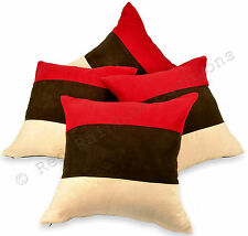 """Set of 4 Red Brown & Cream 18"""" Faux Suede Cushion Covers Stripe Design"""