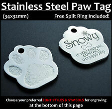 Stainless Steel Paw Pet Tag With Personalised Back-Engraving for Dog Cat Pets
