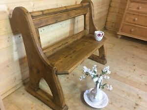 Old rustic antique solid pine wooden church pew settle monks bench hall seat