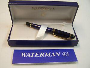 WATERMAN PARIS FOUNTAIN PEN 14k Nib BLUE MARBLE ORIGINAL BOX & INSTRUCTIONS