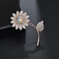 Fashion Women Rhinestone Crystal Sunflower Plant Brooch Pin Party Jewelry BS