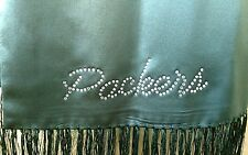 "Green Bay Packer's Silk 60"" Scarf with PACKERS in  rhinestones. Go Pack Go!"