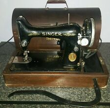 Vintage Singer Portable Sewing Machine 99-13 Wooden Case Knee Control Works