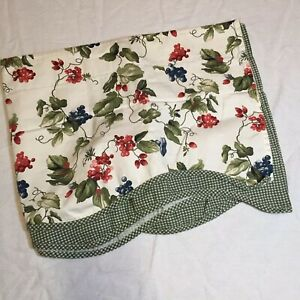 """Orchid Trail Valance Waverly 15"""" x 17"""" Grapes Morning Glory Green Gingham"""