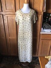Sacred Threads M/L Beige Hippie Floral Short Sleeve Maxi Dress Side Slits NWT