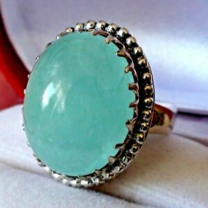 BIG! BEST! 17.80ct NATURAL UNTREATED AQUAMARINE RING 925 ST-ING SILVER.SIZE 9.25