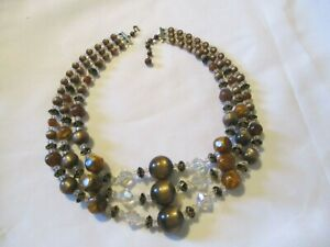 """VINTAGE 3 STRAND LUCITE SWIRL GLASS CRYSTAL MOONGLOW BEADED NECKLACE~22""""~CHUNKY"""