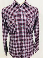 LIFETRENDS Mens VINTAGE Long Sleeve Western Pearl Snap Shirt MEDIUM Blue Plaid