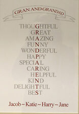 Personalised Grandparents Print Art Print Gift Wall Word Art A4 Size