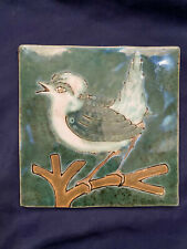 "Vintage Creative Co-Op 5 3/4"" Stoneware Bird Decor Hanging Tile #HD6878A"