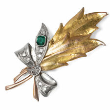 Um 1910: Antique Korn Brooch Emerald & Diamonds 585 Gold & Platinum Ährenbrosche