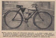 G3871 Moteur Anzani monté sur bicyclette ordinaire - 1922 vintage print - Stampa