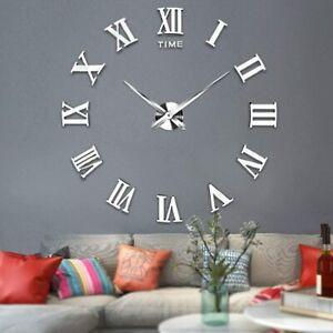 Stick On Wall Clock DIY Large Modern Design Decal 3D Stickers Mute Decorative UK