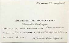 Robert De Bonnefoy Noted French World War I Ace 6 Aerial Victories Signed Card