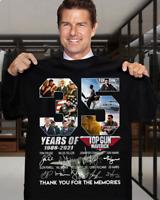 Top Gun Maverick 35 Years Signatures Fan Gift Unisex T Shirt S-5XL Black