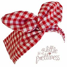 Rockabilly 40s 50s Red Gingham Retro Vintage Pin-up Wire headscarf headband