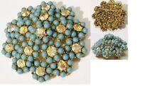 broche bijou vintage ronde perles bleu cristal boréalis couleur or signé * 4754