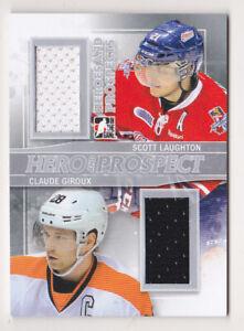 13-14 ITG Scott Laughton Claude Giroux /40 Jersey Heroes & Prospects Flyers 2013