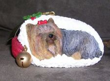 """Stocking Snooze"" Yuletide Yorkies Christmas Ornament The Danbury Mint"
