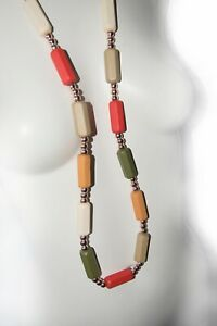 Wooden Beads Long Necklace, Warm Tones from Timeless Season