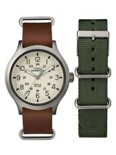 Timex TWG016100 Men's Expedition Scout Changeable Leather Fabric Band Watch Set