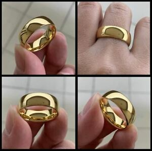 Men's Women's 8mm 18 Carat Yellow Gold Filled Solid Heavy D-Shaped Wedding Ring