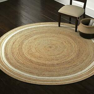 Rug Natural Jute Handmade 5x5 Feet Round Decor Living Rug Reversible Braided Rug