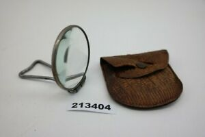 alte Klapplupe Taschenlupe Glasslinse Metallgestell mit Lederetui  #213404