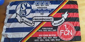 """2 Ösen Fahne FC Schalke 04 Hissfahne// Hissflagge /""""kleine Karos/""""  90x60  cm"""