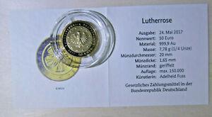 50 Euro Goldmünze Lutherrose 2017 Prägezeichen D mit Zertifikat in Original Box