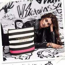 Victoria's Secret Striped Canvas Tote Bag  New