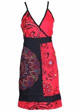 TATTOPANI WOMEN'S SLEEVELESS SUMMER SUN DRESS WITH MULTICOLORED PATCH DESIGN