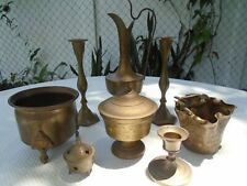 Solid Brass Vintage Etched Art Lot 9 Beautiful Items Pitcher Footed Pot Bird