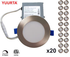 """YUURTA (20-pack) 4"""" 10W Dimmable LED Recessed Ceiling Downlight Brushed Nickel"""