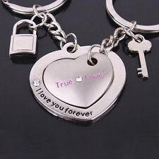 2pcs Love Heart Keyring Keychain Key Ring Keyfob Couple Valentine Lover's Gift