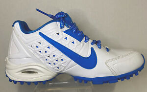 Ladies Nike Air Speedlax Lacrosse Cleats White/Blue, US Size 6, Dual Pull Lacing