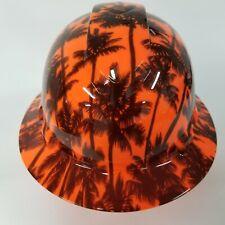 Full Brim Hard Hat Custom Hydro Dipped Hi Vis Orange California Sunset