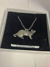 "Ferret PP-A39 Emblem Silver Platinum Plated Necklace 18"""