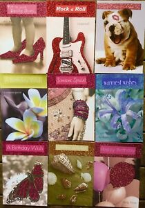 9 CARDS Glitter birthday balloon lily guitar frangipani shell metalic envelopes