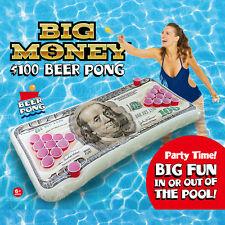 Pool Float Beer Pong BIG MONEY $100 Dollar Bill Inflatable Ocean Beach Raft Game