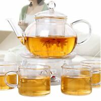 250ML Heat Resistan Glass Teapot With Infuser Coffee Tea Leaf Herbal Pot US BJUA