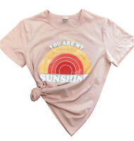 Women's You Are My Sunshine Short Sleeve Top Blouse Casual Funny Tee T-Shirt