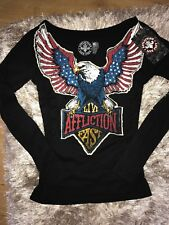 NWT XS $64 Affliction Lace Up Long Sleeve Harley Shirt Top Sexy Rare The Buckle