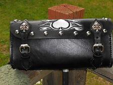 Universal Leather Motorcycle Tool Bag / Fork Bag Handtooled - Harley or Metric