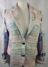 Lulu-H Womens Sweater Blazer Pink Striped Wool Blend Suit Jacket Stretch Size XL