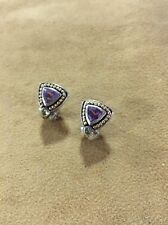 Sterling Silver .925 14kt Gold Amethyst And Citrine Lever Back Post Earrings