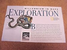 National Geographic February 1998 Map Millennium In Exploration + Explorers
